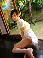 Cute slim teen Aoba Itou poses on the floor - Erotic and nude pussy pics at GirlSoftcore.com