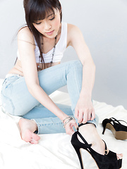 Sexy Japanese model Yurikawa Sara posing in high heels - Erotic and nude pussy pics at GirlSoftcore.com