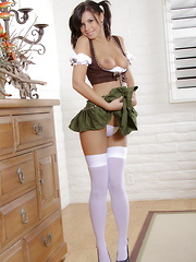 Destiny Moody looking  sweet as Grandma's strudel in her traditional German girl outfit - Erotic and nude pussy pics at GirlSoftcore.com