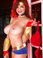 Busty Tessa gets into costume as Wonder Woman for Halloween