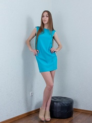 Halmia takes off blue dress to lay naked on bed - Erotic and nude pussy pics at GirlSoftcore.com