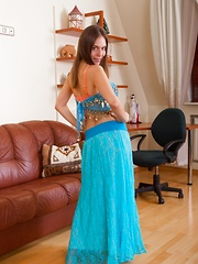 Agneta strips from dress and stockings to play