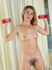 Melisa exercises naked and shows hairy pussy - Erotic and nude pussy pics at GirlSoftcore.com