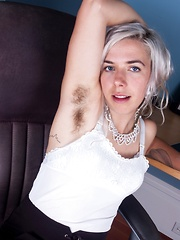 Cordelia shows her hairy pussy at work - Erotic and nude pussy pics at GirlSoftcore.com