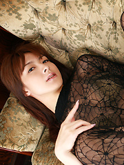 Rika Kawamura Asian shows cunt in spider lace crotchless outfit - Erotic and nude pussy pics at GirlSoftcore.com