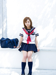 Runa Hamakawa Asian plays with her uniform skirt after classes - Erotic and nude pussy pics at GirlSoftcore.com