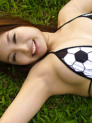 Saori Yamamoto Asian shows big boobs in football bra in the park - Erotic and nude pussy pics at GirlSoftcore.com