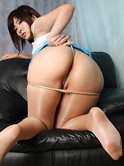 Kaede Oshiro Asian with specs and hot ass rubs twat with thong - Erotic and nude pussy pics at GirlSoftcore.com