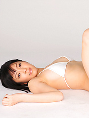 An Mashiro Asian shows sexy curves in white lingerie for pics - Erotic and nude pussy pics at GirlSoftcore.com