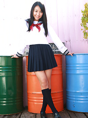 Miyu Watanabe Asian in school uniform loves rubbing cunt of ball - Erotic and nude pussy pics at GirlSoftcore.com