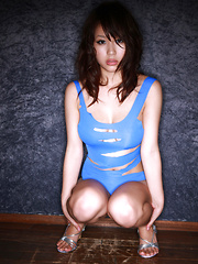 Mai Nishida Asian has big jugs and firm butt in blue lingerie - Erotic and nude pussy pics at GirlSoftcore.com